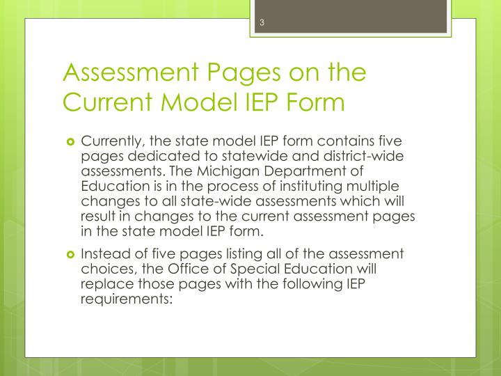 Assessment pages on the current model iep form