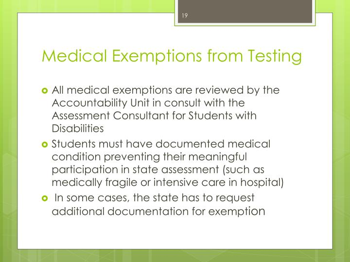 Medical Exemptions from Testing