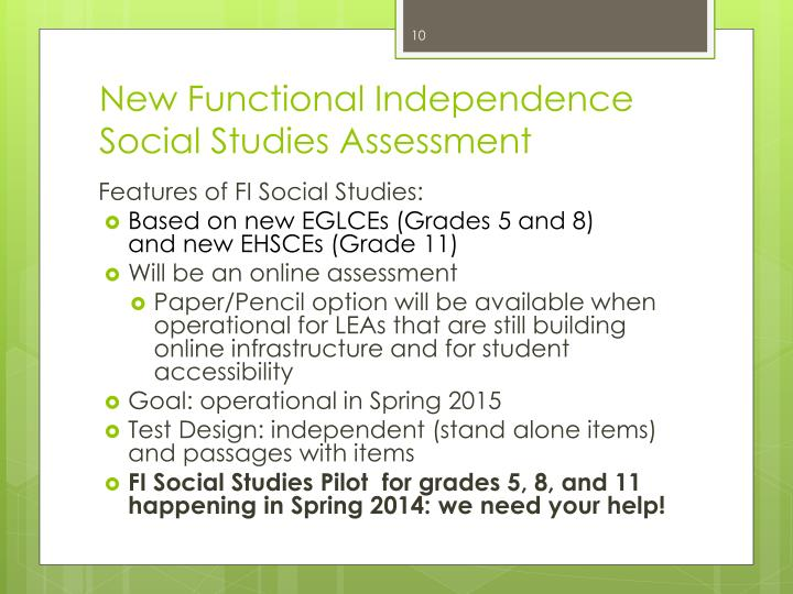New Functional Independence  Social Studies Assessment