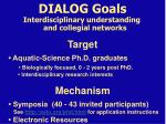 dialog goals