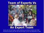 team of experts vs