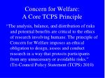 concern for welfare a core tcps principle
