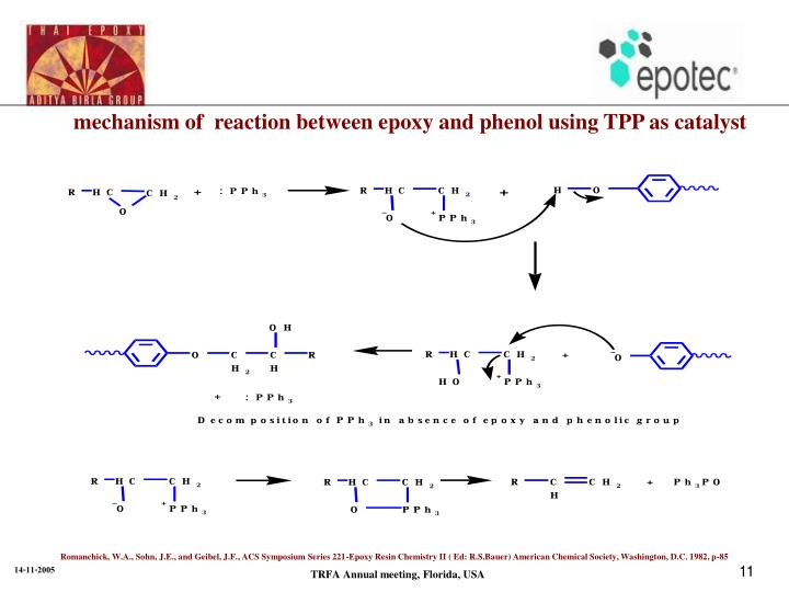 mechanism of  reaction between epoxy and phenol using TPP as catalyst