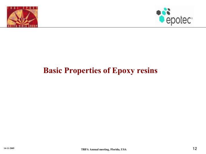 Basic Properties of Epoxy resins