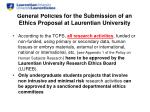 general policies for the submission of an ethics proposal at laurentian university