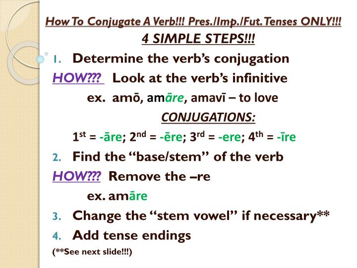 how to conjugate a verb pres imp fut tenses only n.