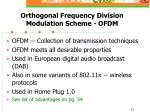 orthogonal frequency division modulation scheme ofdm