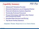 capability summary