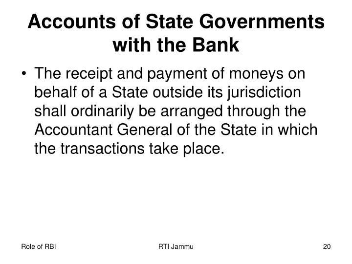 Accounts of State Governments with the Bank