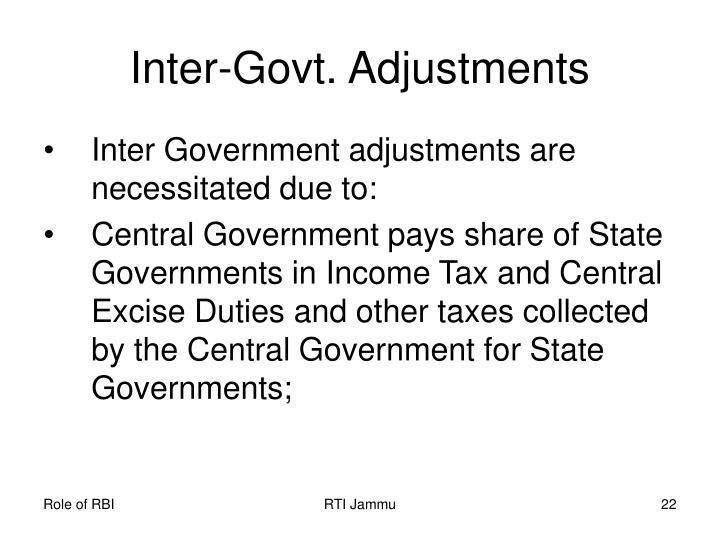 Inter-Govt. Adjustments