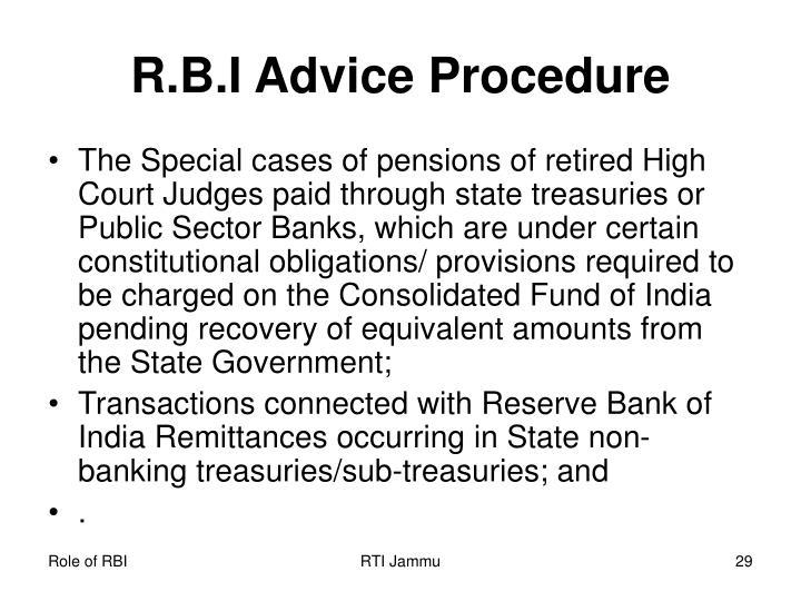 R.B.I Advice Procedure