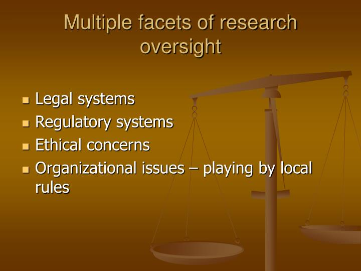Multiple facets of research oversight