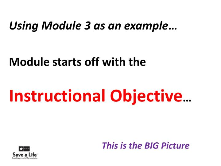 Using Module 3 as an example