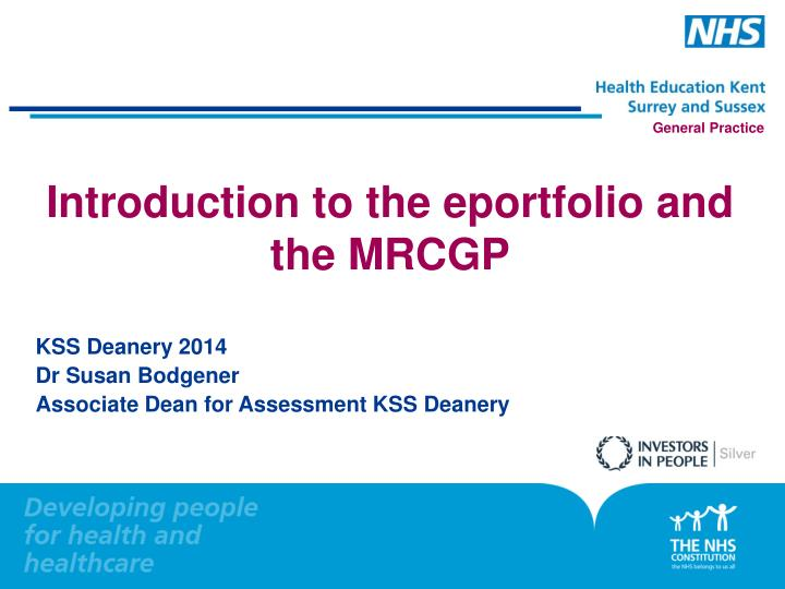 introduction to the eportfolio and the mrcgp n.