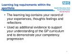 learning log requirements within the eportfolio