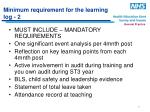 minimum requirement for the learning log 2