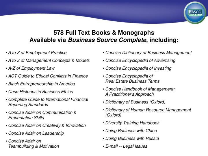 578 Full Text Books & Monographs