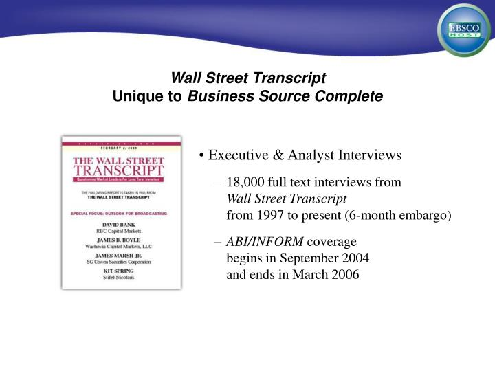 Wall Street Transcript