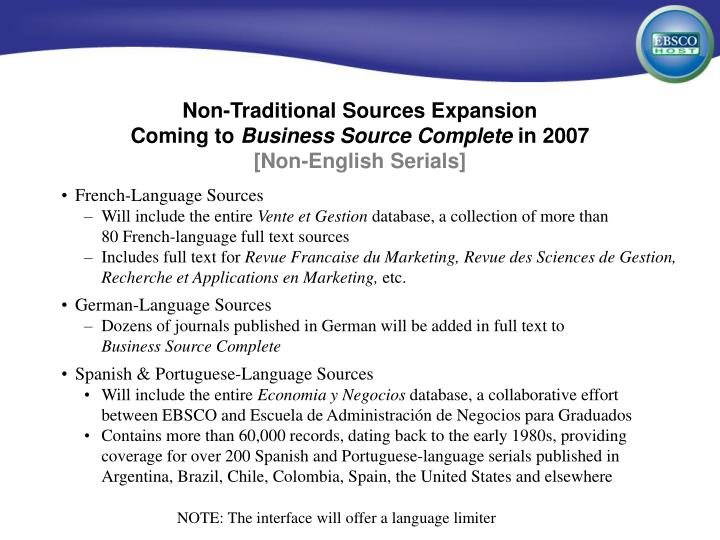 Non-Traditional Sources Expansion