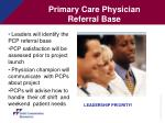 primary care physician referral base