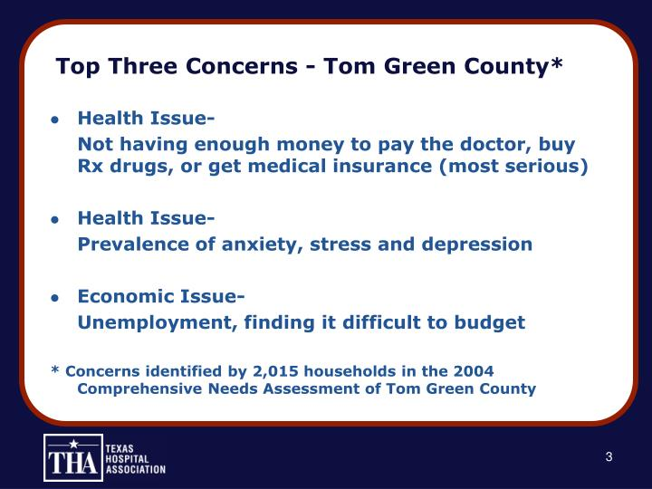 Top three concerns tom green county