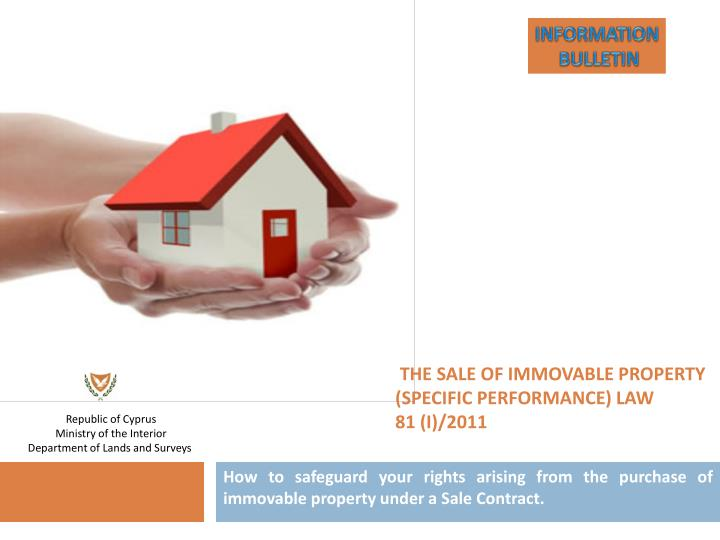 the sale of immovable property specific performance law 81 i 2011 n.