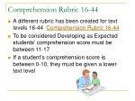 comprehension rubric 16 44