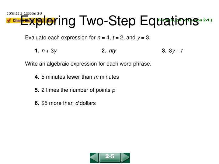 exploring two step equations n.