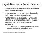 crystallization in water solutions