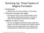summing up three factors of magma formation