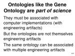 ontologies like the gene ontology are part of science