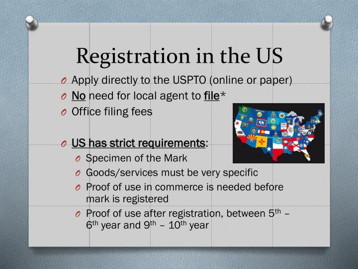 Registration in the US