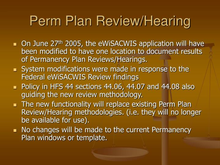 Perm plan review hearing