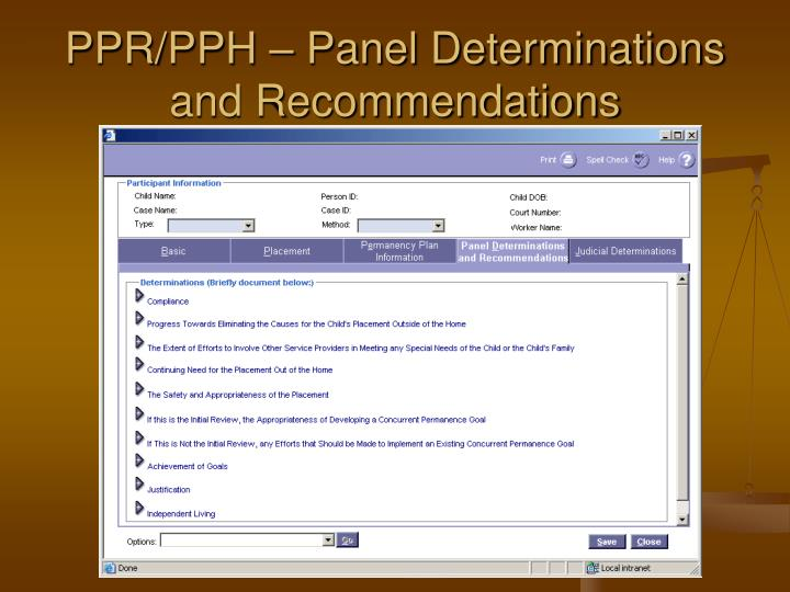 PPR/PPH – Panel Determinations and Recommendations