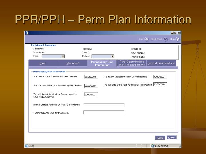 PPR/PPH – Perm Plan Information