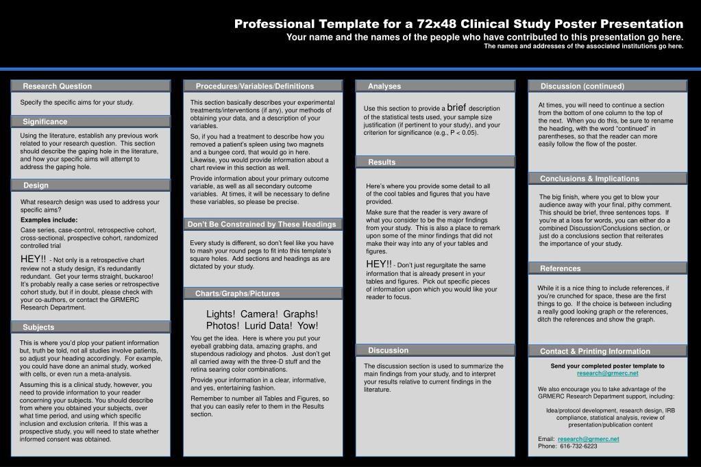 Ppt Professional Template For A 72x48 Clinical Study Poster