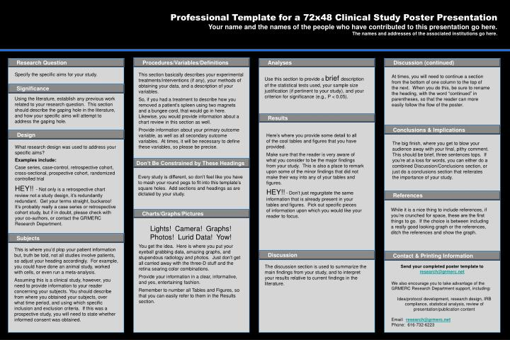 ppt - professional template for a 72x48 clinical study poster, Presentation templates