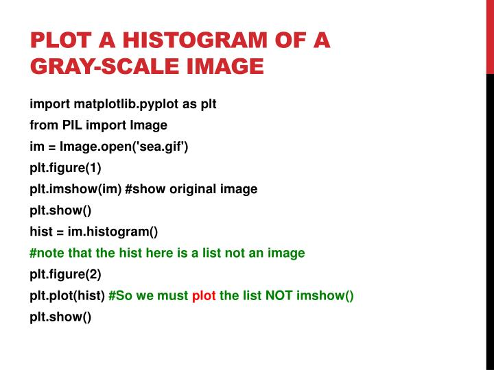 Plot a Histogram of a gray-scale image