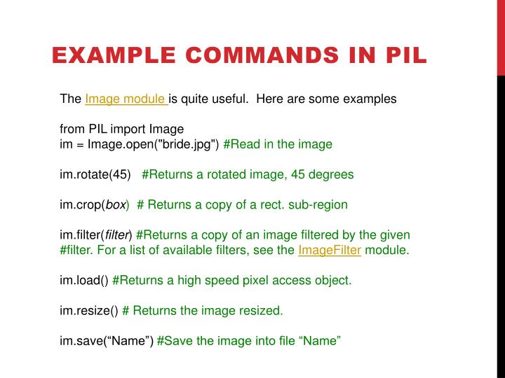 Example Commands in PIL