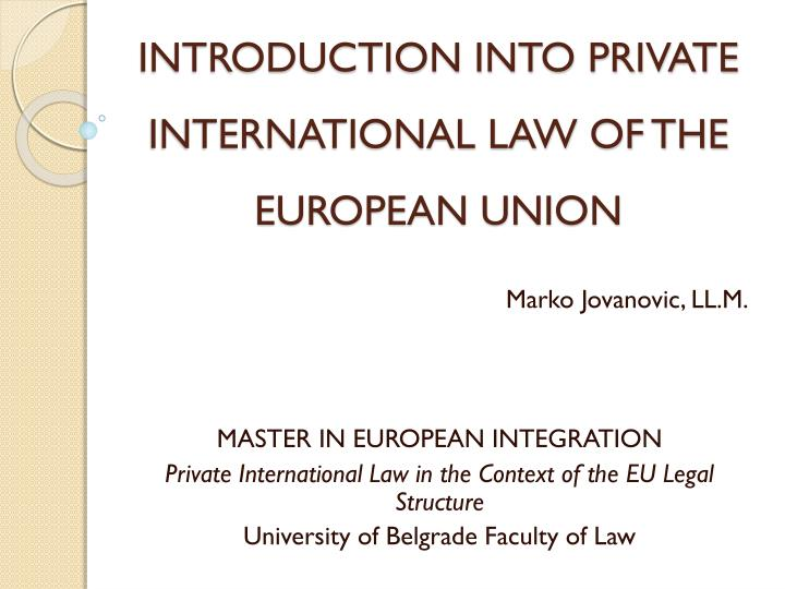 introduction into private international law of the european union n.