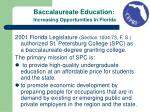 baccalaureate education increasing opportunities in florida