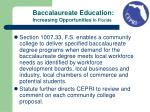 baccalaureate education increasing opportunities in florida1