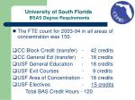 university of south florida bsas degree requirements