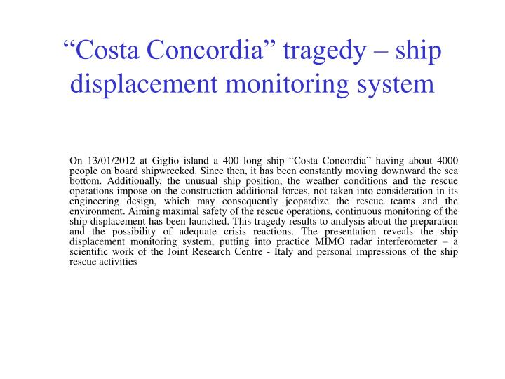 costa concordia tragedy ship displacement monitoring system n.