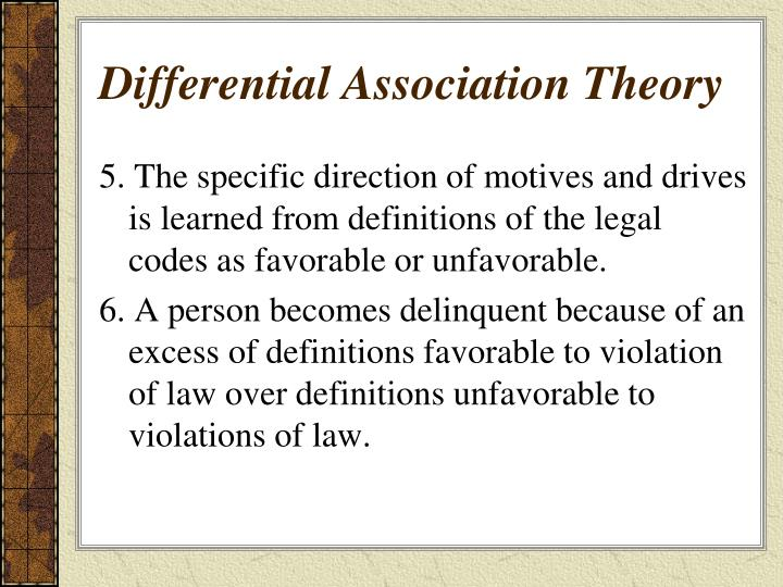 the association between differential association theory and The differential association theory is one of the most valued theories within criminology this theory was first discovered by edwin sutherland (1947), he developed the differential association theory in order to explain how youths engage in acts of criminal behaviour.