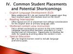 iv common student placements and potential shortcomings