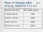 mass of sample after drying aashto t11 6 2