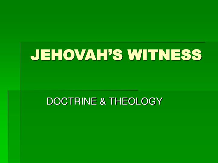 jehovah s witness n.