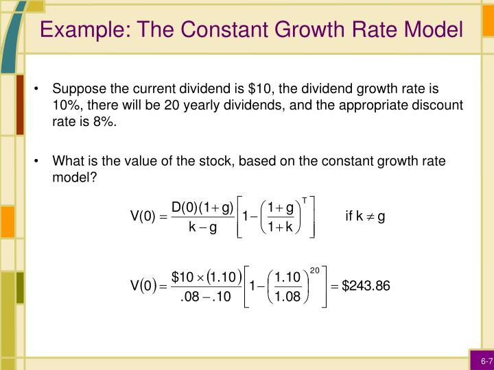 Example: The Constant Growth Rate Model