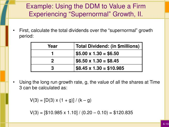 """Example: Using the DDM to Value a Firm Experiencing """"Supernormal"""" Growth, II."""